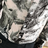Korean Slim Fit Men Shirt Brand New Long Sleeve Print Mens Casual Shirts Night Club/Party/Prom Dress Shirt Male Clothing 3XL