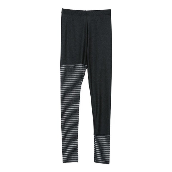 LANMREM 2019 Spring Summer New Striped Elastic High Waist Slim Leggings For Women Fashion All-match Female Black Pants QF15801