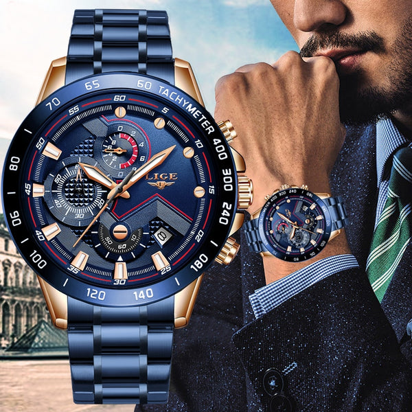 Men's Watches Luxury Stainless Steel Blue Waterproof Quartz Watch