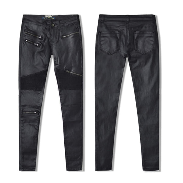 LOGAMI Faux Leather Pants Women Elastic Zipper Leather Pants Trousers 2018 Leren Broeken