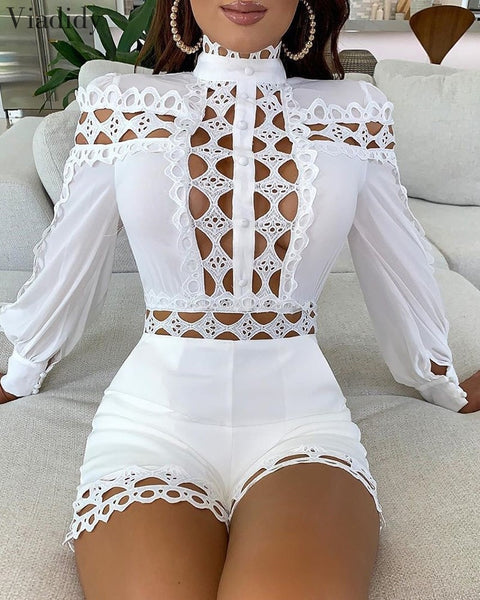 Lace Patchwork Long Sleeves Women's Jumpsuit Shorts White and Black Color