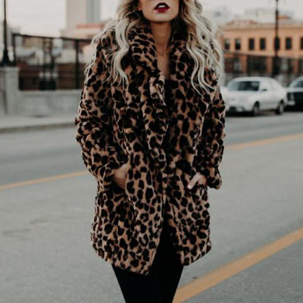 Leopard Faux Fur Coat Women 2019 Winter Fashion Sexy Long Coat Streetwear Office Ladies Causal Warm Streetwear Jacket Overcoat