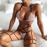 Lingerie Sexy Women's Lace Flower Bra and Thong Set Underwear