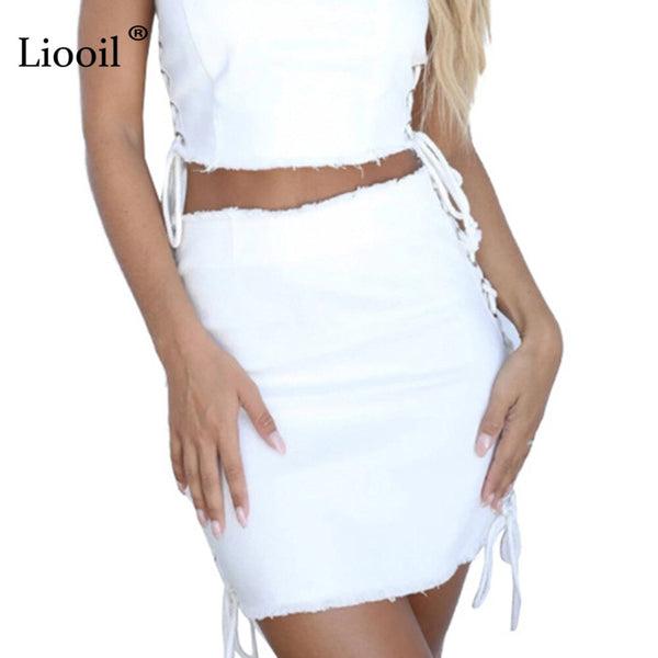 Sexy Skirt Hollow Out Lace Up On The Side White Denim Mini Skirt for Women