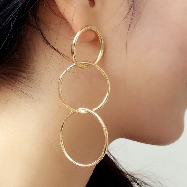 Long Hanging Earrings for Women Round Gold Color Geometric Circle Women Earings Jewelry Accessory Punk Metal Pendientes Earrings