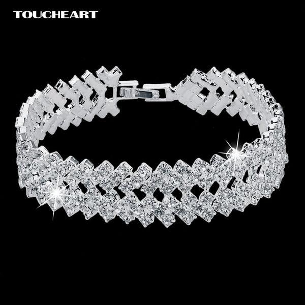 Luxury Crystal Bracelets For Women Silver color Bracelets & Bangles Femme Bridal Wedding Jewelry 2018 Vintage Bracelet SBR150218