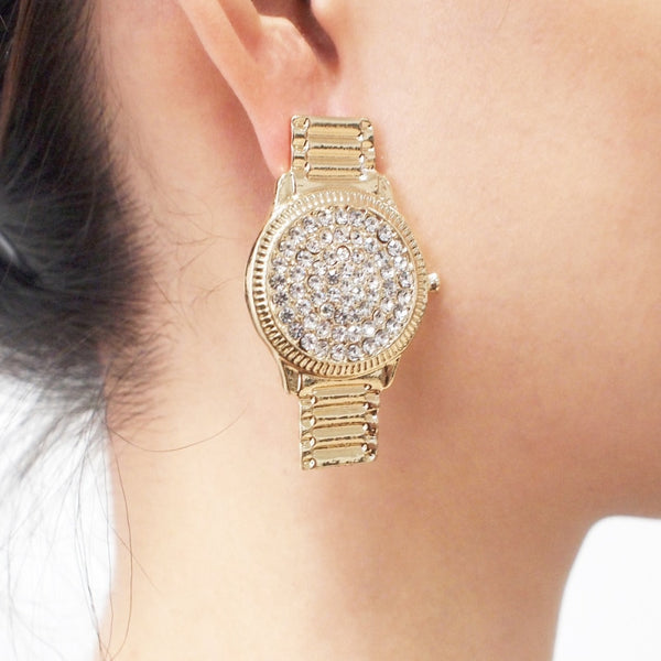 Luxury Crystal Watch Stud Earrings For Women Unique Design Punk Rhinstone Statement Earrings Jewelry Gift UKEN