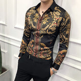 Luxury Gold Black Shirt Men 2018 New Slim Fit Long Sleeve Camisa Masculina Gold Black Chemise Homme Social Men Club Prom Shirt