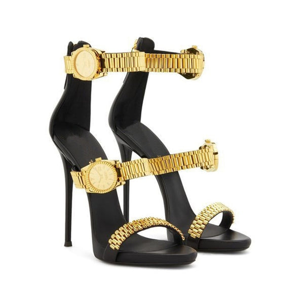 Luxury Gold Watch Studded High Heel Sandals Metal Chain Decor Sandals for Women