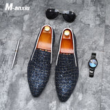 M-anxiu Fashion Grids Pattern Leather Loafers Shining Sequins Formal Dress Shoes Big Size Mens Wedding Party Shoes 2018 New