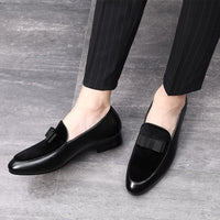 M-anxiu Men Formal Shoes Bowknot Wedding Dress Male Flats Gentlemen Casual Slip on Shoes Black Patent Leather Red Suede Loafers