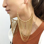 MANILAI Fashion Circular Metal Long Tassel Earrings For Women Indian  Jewelry Chain Dangle Earrings Gold Color Ball Pendientes