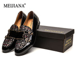 MEIJIANA Paint Belt Buckle Dinner shoes  Plaid Pattern 2019 New Men's Loafers Brand Casual Shoes  Men's Wedding Shoes