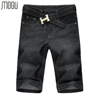 MOGU Knee Length Shorts Men Fashion Mid Waist Short Jeans For Men 2017 Summer New Denim Shorts For Male Plus Size 56 Mens Shorts
