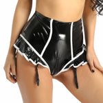 Women's Sexy Lingerie Faux Leather Booty Shorts Zippered Panties Crotch High Waist with Surspenders