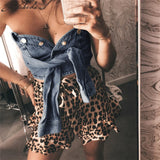 Macheda Patchwork Cowboy Sexy Crop Tops Bandage Lace Up 2018 New Summer Women Fashion Casual Street Apparel Tank Tops