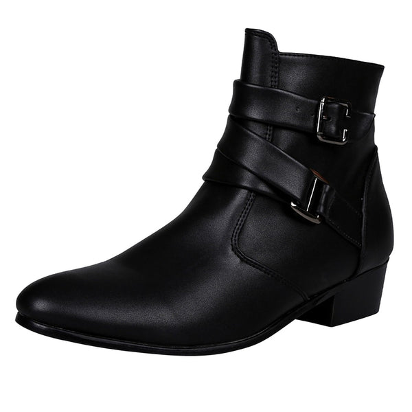 Men Boots Winter 2018 Leather Short Boot British Style Shoes Flat Heel Work Boot Motorcycle Short Boots Casual Ankle Shoes