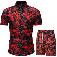 Summer Men's Punk Rock Party Shorts and Shirt Set