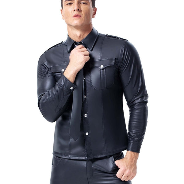 Men's leather Long Sleeves Shirt