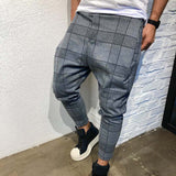 Men Pants Skinny Pencil Pants Long Casual Sport Pants Slim Fit Plaid Trousers Joggers Streetwear Track Jogger Sweatpants19APR18
