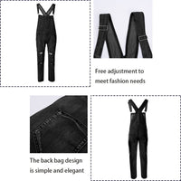 Men Ripped Denim Jumpsuit Overalls Jean Casual Suspenders Pants Men Fashion Hip Hop Jumpsuit Jean Bib Pant Streetwear