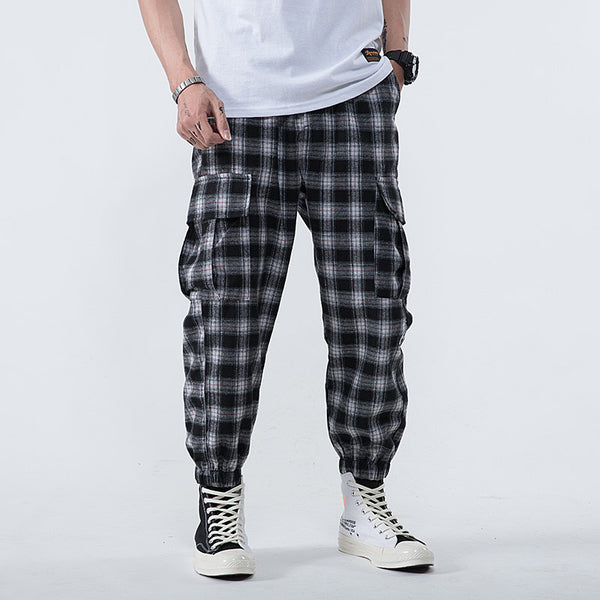 Men Streetwear 2019 Plaid Trousers Pants Joggers Men Casual Japanese Korean Hip Hop Multi Pocket Cargo Rapper Wide Sweatpants