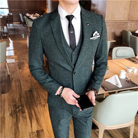 Men Suit Jacket with Vest and Pant Business Wedding Banquet Men Suit 3 Piece Set Size S - 4XL mens suits blazer