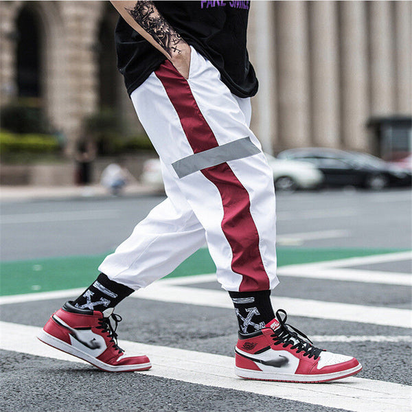 Men Vogue Jogger Dance Track Pants Streetwear Loose Side striped Hip Pop Pants Sportwear Baggy Cargo Pants Slacks Trousers Man