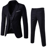 Men's 3 Pieces Black Elegant Suits With Pants Brand Slim Fit Single Button Party Formal Business Dress Suit Male Terno Masculino