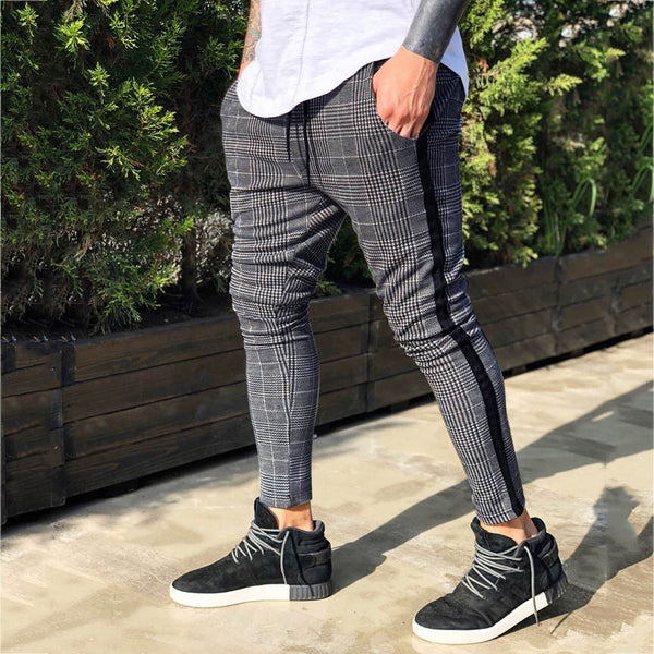 Men's Long Casual Sport Pants Pantalon Chandal Hombre Slim Fit Plaid Trousers Running Joggers Sweatpants Pantalones Hombre Pants