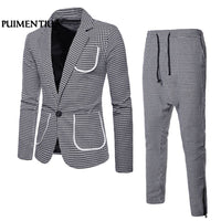 Men's Suit Plaid Lapel Navy Blue Bridegroom Wedding Prom Suits Male Blazers Slim Fit Suits 2018 Classic Suit 2XL Puimentiua FF