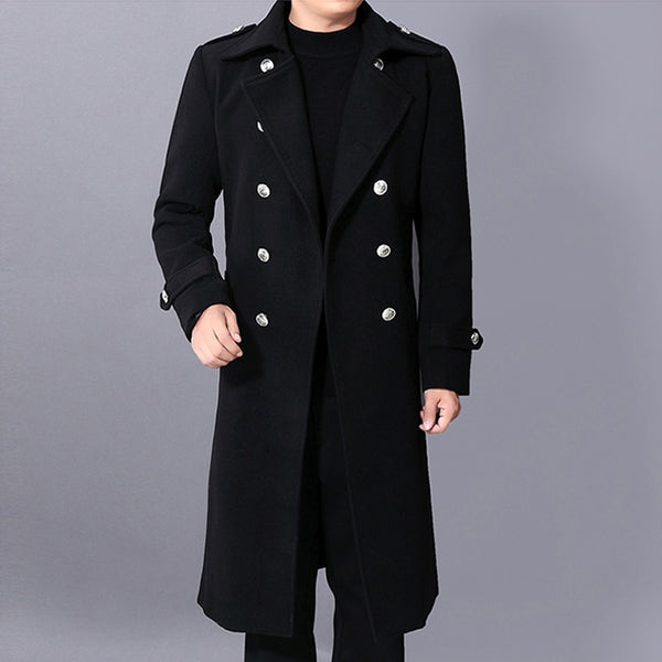 Men's Woolen Thick Warm Long Winter Fashion Jacket Coat