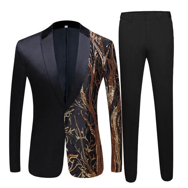 Men's black Sequin Party Blazer Slim Fit Wedding Party Suit High Quality Blazer Suit