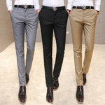 Men's clothing trousers high-grade pure color slim Fit high-end leisure thin leg