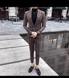 Mens Big Plaid Suit Ankle Length Costume Homme Mariage Cofee Blue Stripe Check Elegant Trajes De Hombre Novio Plaid Suit For Men