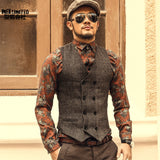 Mens Double Breasted Vest Men Dress Suit Vest Men Formal Grey Vest Suit Gilet Vest Slim Business Jacket Tops homme spring M51
