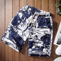 Mens Shorts Casual Shorts Men Drawstring Printed male 2019 Streetwear Summer Fashion Men Shorts Cotton Linen Beach