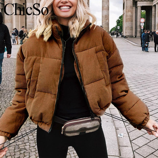 MissyChilli Casual down parka jacket women coat winter Female khaki streetwear short coat Snow wear corduroy warm outerwear2019