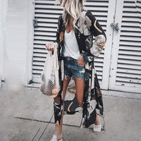 MoneRffi Women Summer Chiffon Kimono Cardigan Long Sleeve Floral Print Blouses Loose Boho Blusa Shirts Plus Size Shirt 2019