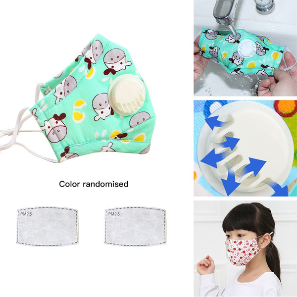N95 Kids Vertical Folding Non Woven Fabric Mask With Breath Valve Anti-bacterial Anti-haze Children Mask PM2.5 Respirator