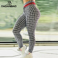NADANBAO New Arrival High Waist Legging Women Sporting Fitness Lattice Printied Leggings Workout High Waist Elastic Leggins