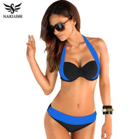 NAKIAEOI 2019 New Sexy Bikinis Women Swimsuit High Waisted Bathing Suits Swim Halter Push Up Bikini Set Plus Size Swimwear 4XL