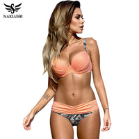 NAKIAEOI Sexy Bikinis Women Swimsuit 2019 Summer Low Waisted Bathing Suits Halter Top Push Up Bikini Set Plus Size Swimwear XXL
