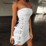 NATTEMAID Goth Style Zipper Punk Summer Dress 2019 Metal Belt Decoration Strapless Sexy Dress Women Mini Party White Dresses