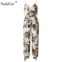 Nadafair  Summer Jumpsuit Overalls Women Belt Floral Print Beach Casual Romper Women Split Ankle-Length Pant Jumpsuit Plus Size