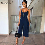 Nadafair Summer Strap Sexy Jumpsuits Women Rompers Belt Bow Lace Up Buttons Casual Wide Leg Pants Jumpsuit Overalls White Black