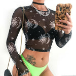 Sexy Women's Transparent Long Sleeves Crop Top