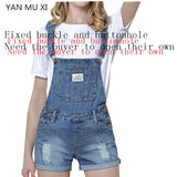 New Brand YAN MU XI 2017 Summer Holes Shorts Women Slim strap Shorts Patch Harajuku Pocket Fashion College Wind Women Shorts