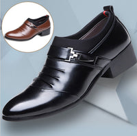 New British Men's Slip On Split Leather Pointed Toe Men Dress Shoes Business Wedding Oxfords Formal Shoes For Male 2018 38-48