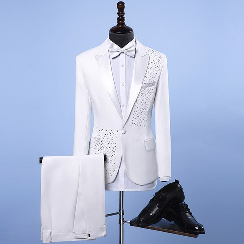 New Fashion Brand Men's Suits Sequins White Black Slim Fit Blazers Suit Jacket Pants Male Tuxedos Wedding Groom Prom Stage Suits